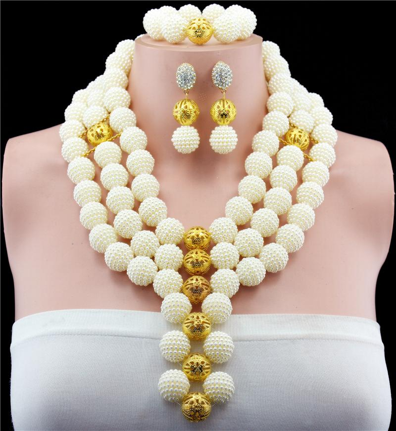 Brand Jewelry Design Trendy Dubai Gold-color Jewelry Set Elegant Costume Long Necklace Set Nigerian Wedding African Beads