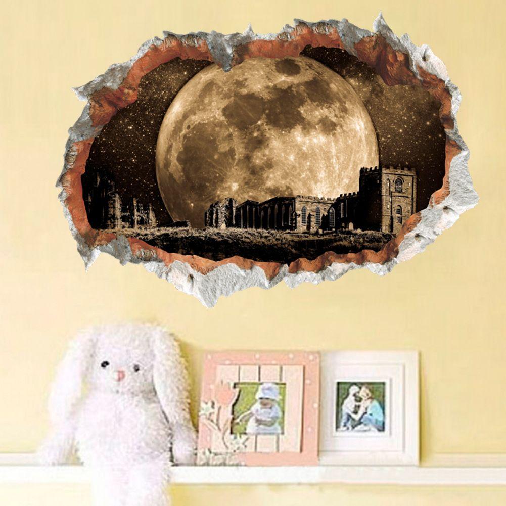 New Universe Super Moon Castle 3d Broken Wall Decal Stickers Pvc ...