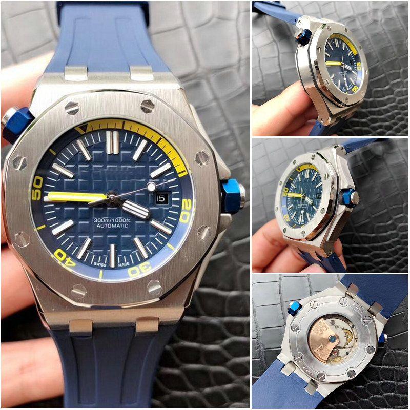 843dbeb91af Compre Luxo Relógios Transparente Azul Royal Oak Offshore 15710st Máquinas  Automáticas De Borracha Cinta Mens Watch Marca Relógios Gent Relógio De  Pulso De ...