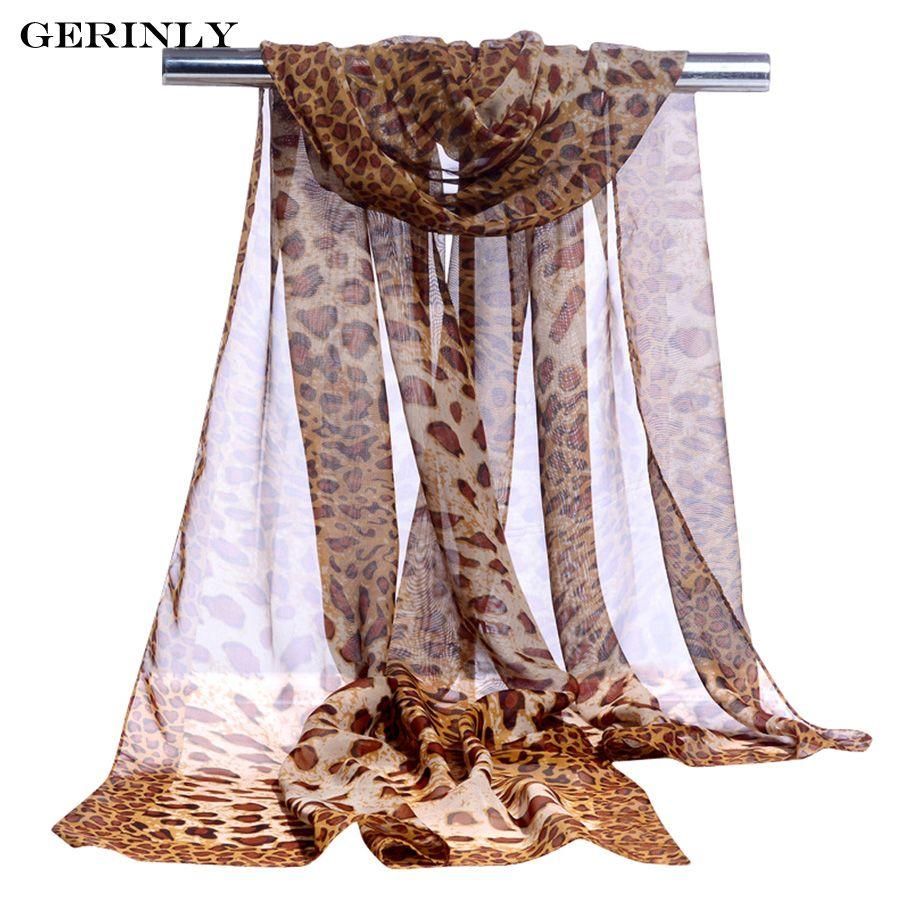 GERINLY Chiffon Scarf Sexy Leopard Print Women's Silk scarves Hijab Lady Brand Design Cape Shawl Foulard Wraps for All Season
