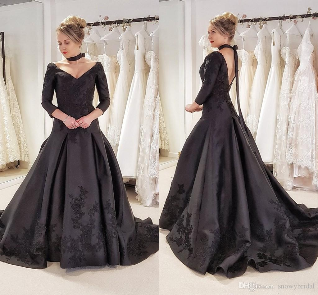 Discount Black Gothic Long Wedding Dresses With 3/4 Sleeves Vintage ...