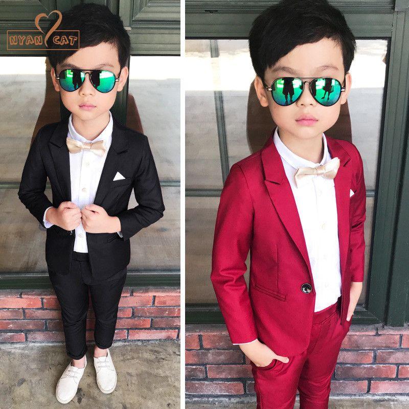 6e3e74a3ce9d 2019 Nyan Cat Wedding Boy Dress Blazer+ Pants Child Suit Red Black  Gentlemen Baby Boy Costume School Performance Show Kids Suit From  Newyearable