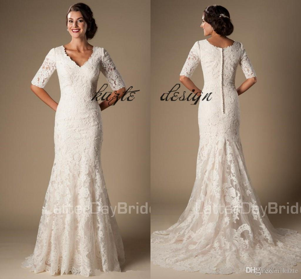 Ivory Vintage Lace Mermaid Modest Wedding Dresses With Half Sleeves 2018 V Neck Elbow Sleeves Temple Wedding Gowns Vestido De Noiva