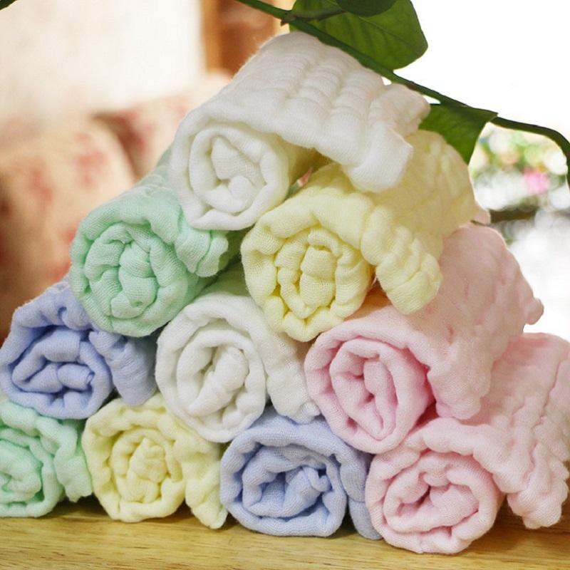 Solid Color 10PC/LOT The Soft Washed Organza Handkerchief Towel Newborn Children Face Towel 100% Cotton Muslin SquareTowel