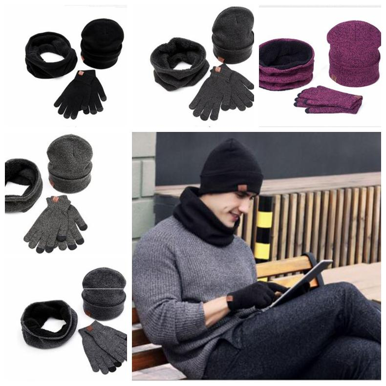 Scarves Hat Touch Gloves Set Men Women H Letter Winter Warm Knit Hat Touch  Screen Smart Phone Glove Neckerchief KKA5999 H Hat Touch Gloves Neckerchief  ... a484b5adee7e