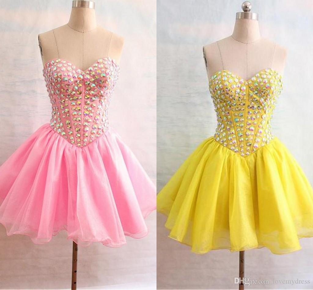 1cb37df5c9f Pink Yellow Short Homecoming Prom Dress Cheap Sweetheart Crystal Organza  Mini Lace Up Back Ruched Cocktail Graduation Dress Gown Tight Fitting  Homecoming ...
