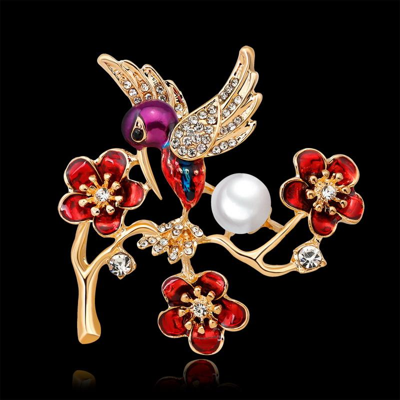 Nuovo arrivo carino uccello spilla pin fiore retrò spille le donne moda carino spilla pin buon regalo broch spedizione gratuita