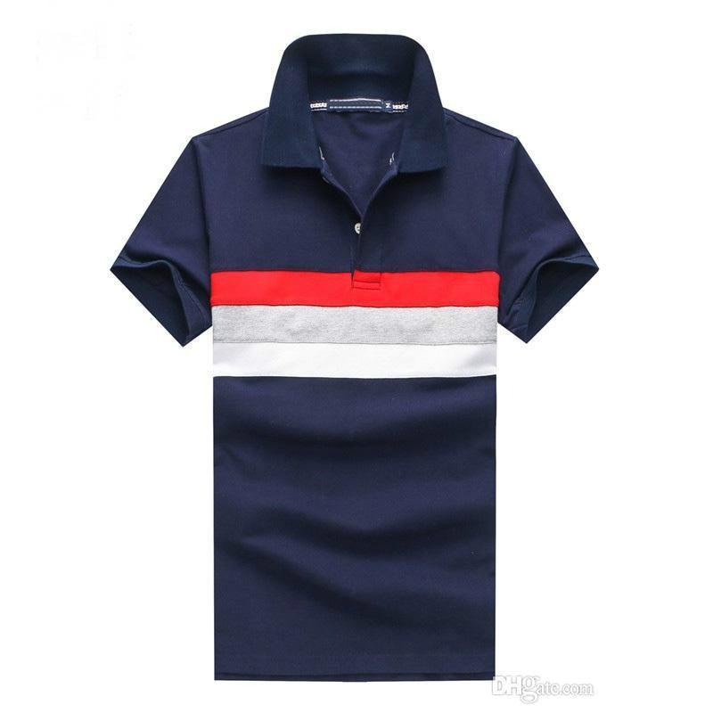 393dfb2978c41 Compre 2018 Marca Para Hombre Camisa POLO Ajuste Cómodo Hombre Solapa  Camiseta Remiendo De Malla De Algodón Golf Deporte Jersery Tee Para Hombres  0123 A ...