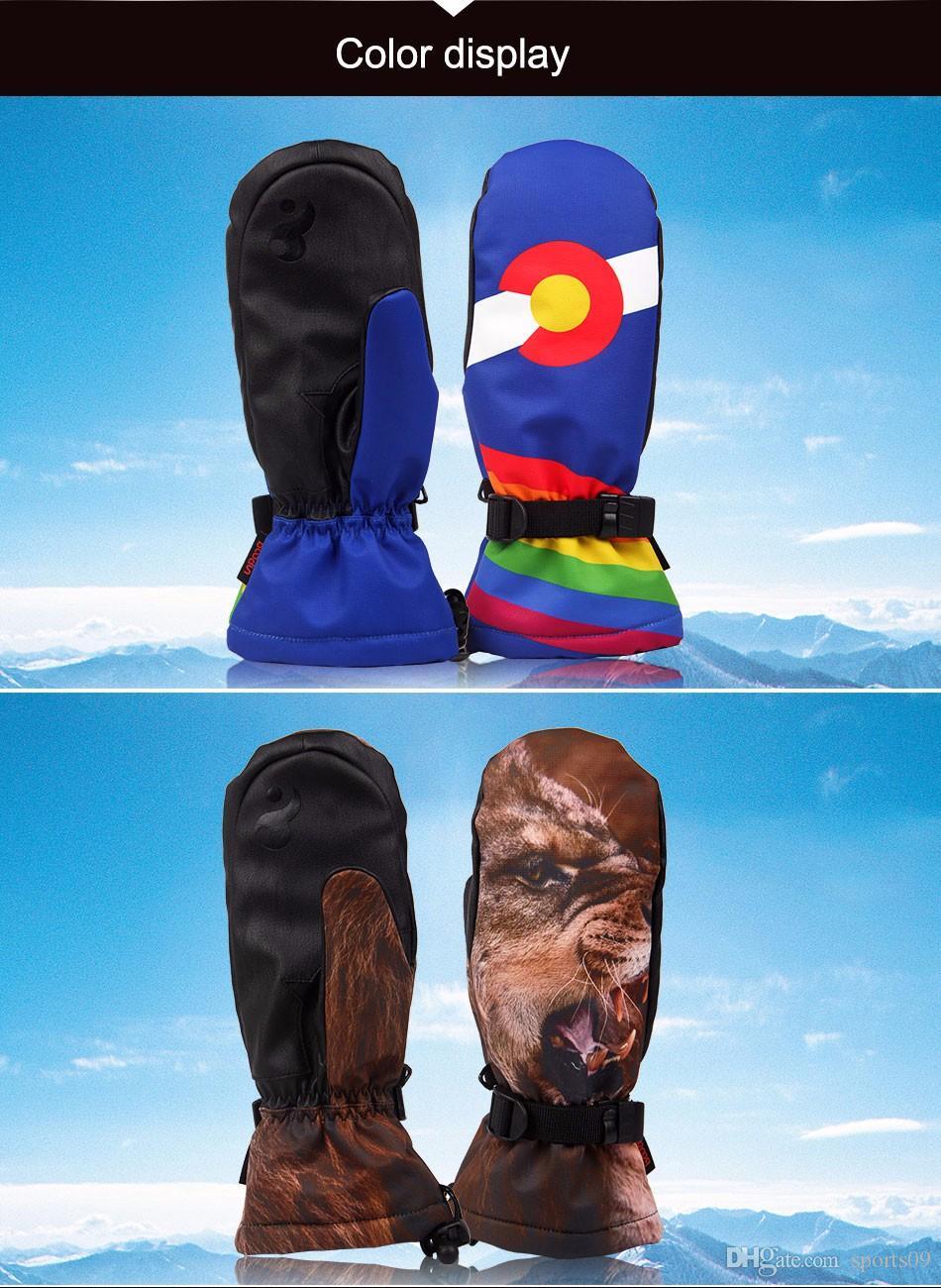 Guantes de esquí de los hombres de la marca 3D Tiger Printing Guantes de porter Deportes al aire libre Guantes de invierno Esquí Guantes impermeables de las mujeres a prueba de viento