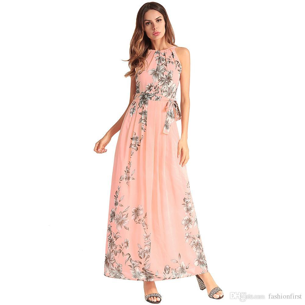 2c38053376948 2019 New European Style Chiffon Dress Long Beach Dress Natural ...