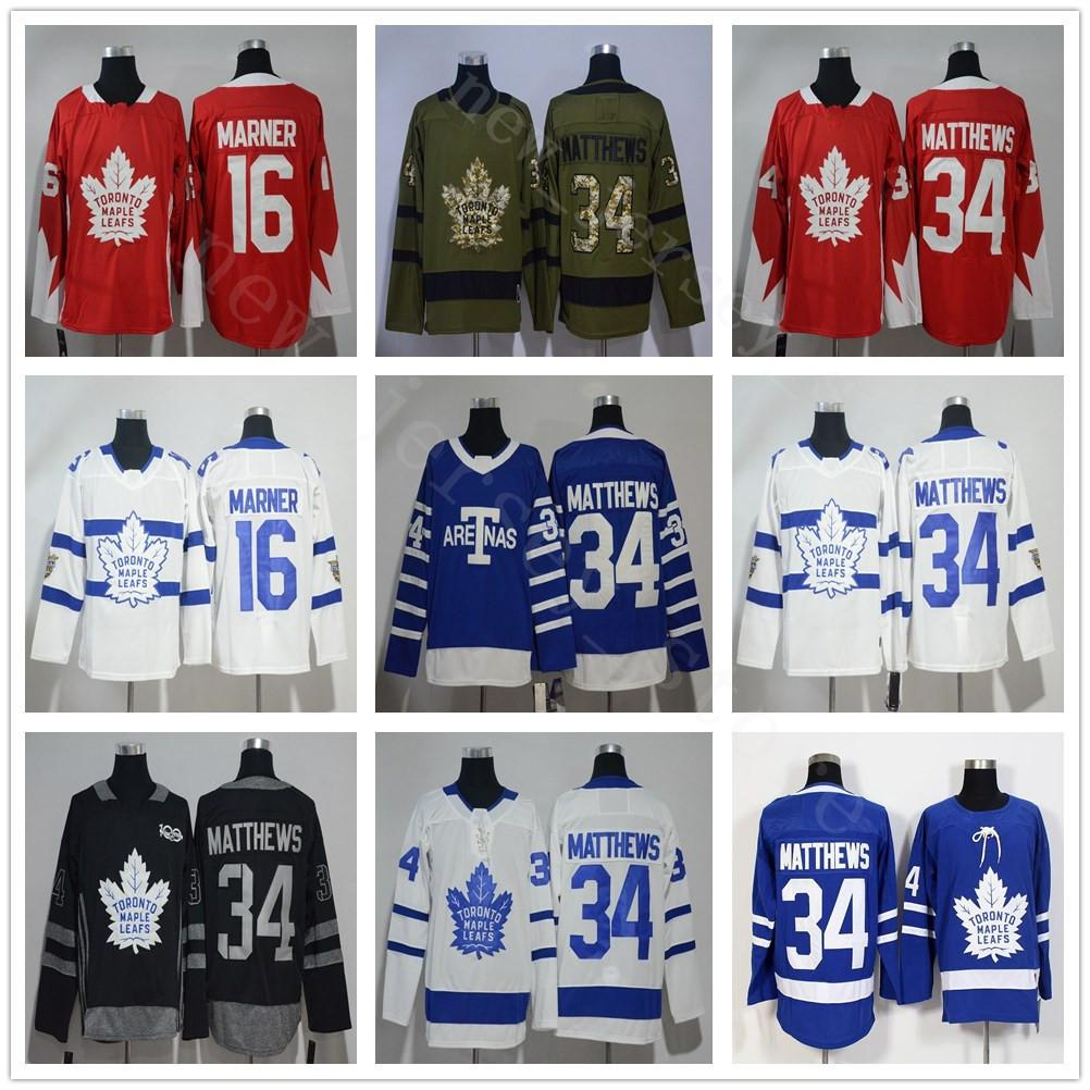 2019 2018 Stadium Series Toronto Maple Leafs  34 Auston Matthews Jersey Red  Black 100th  16 Mitchell Marner Army Green Salute To Service From ... 8f1cb171a