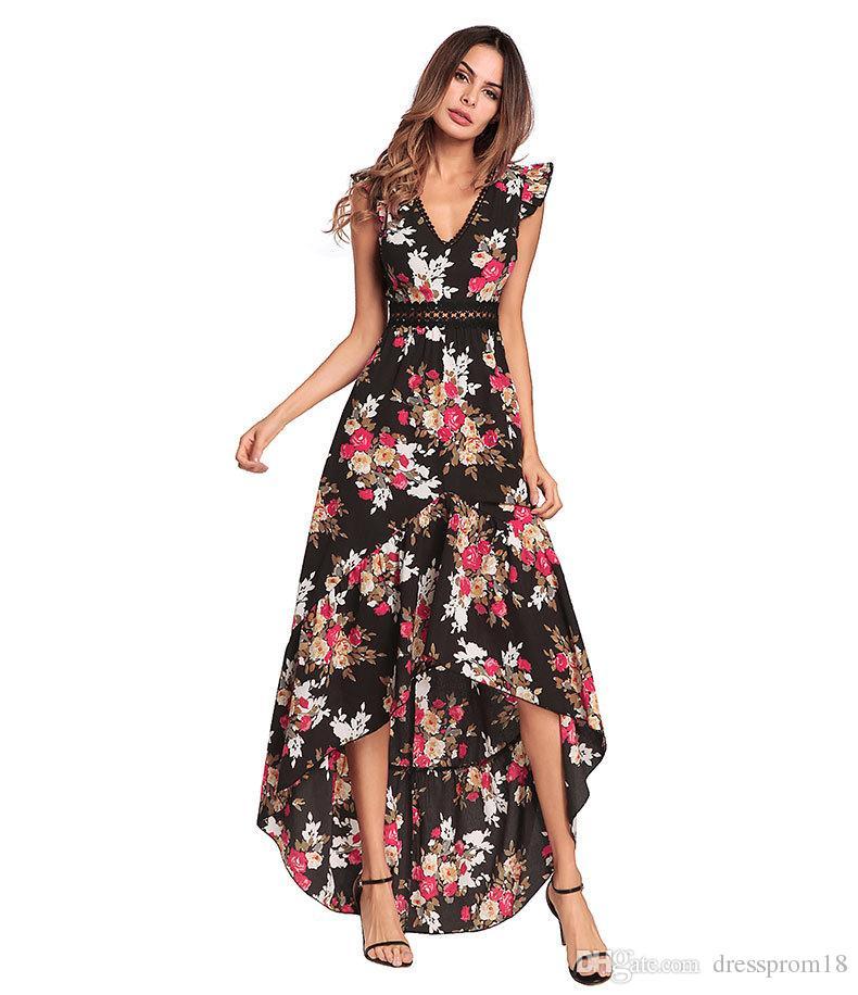 Womens Sexy Cuello En V Impreso Floral Chiffon Summer Beach Dress Sheer Imperio Cintura Asimétrica Hem Maxi Vestido 2018