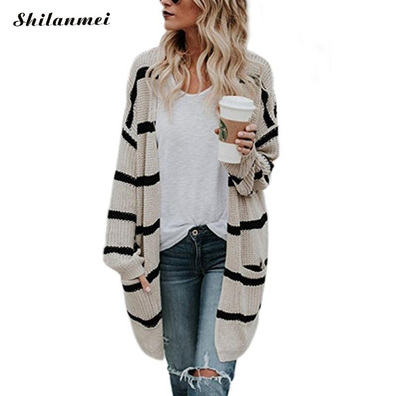 8214e33225ae Sweater Women Long Cardigan 2018 New Autumn Winter Long Sleeve Striped  Knitted Cardigans Causal Loose Female Sweater Coat Jacket