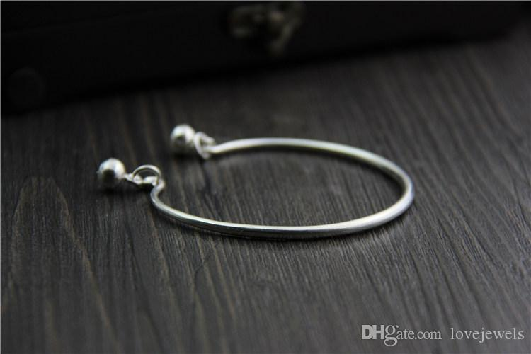 handmade charms Thai silver 999 sterling silver bracelet ladies smooth bell open cuff bracelet designer bracelet snap jewelry china goods