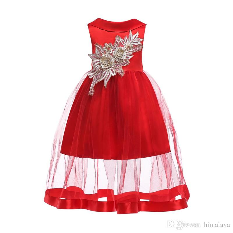 2018 childrens christmas evening princess dresses 2018 kids party clothes baby girls high quality clothing toddler xmas dress for 100 150cm from himalaya