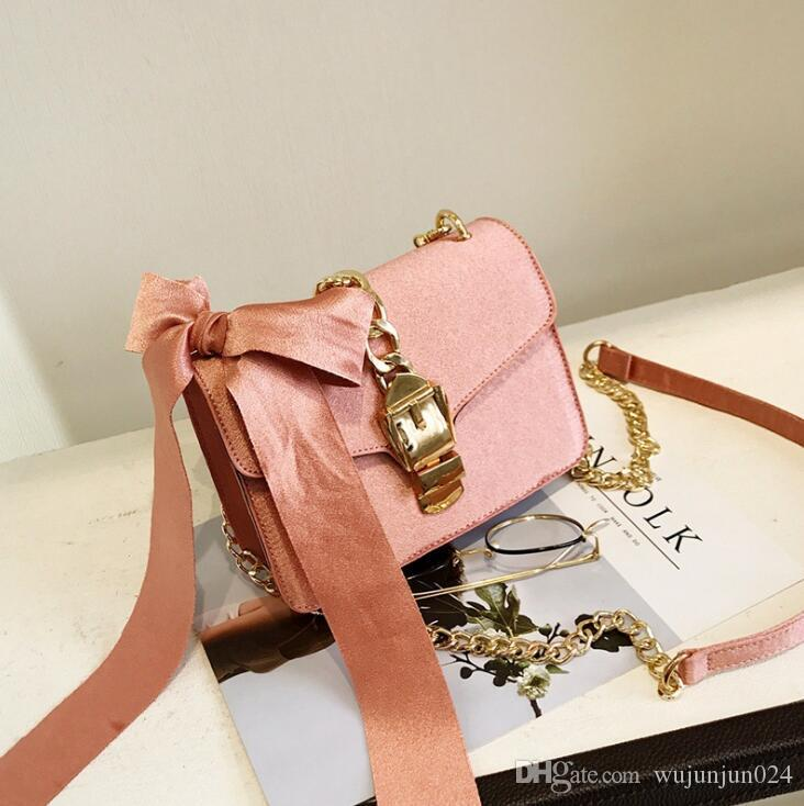 2018Luxury Messenger Bags Women Bowknot Chains Flap Bag Ladies Fashion Solid Color Hasp Shoulder Bags Female Shopping Phone Bag