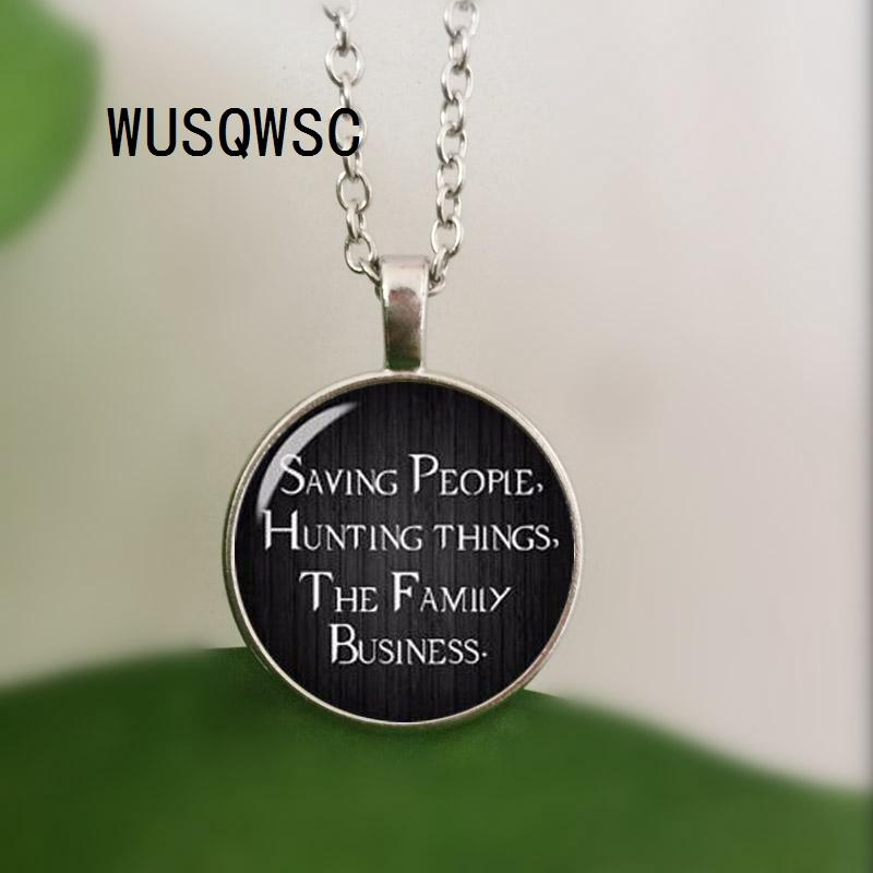 d3f4ab4e03b8 2019 WUSQWSC Hot Supernatural Necklace Saving People Hunting Things Family  Business Dean Winchester Sam Crystal Glass Dome Necklace From Yanzhoucheng