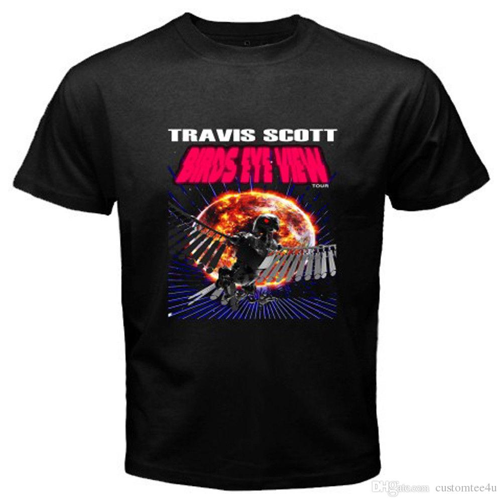 c90d04c1b4 New Travis Scott Birds Eye View Tour Logo Men'S Black T Shirt Size S 3Xl T  Shirt Men'S Brand Clothing Short Sleeve Fashion Custom Big Size P Awesome  Tee ...