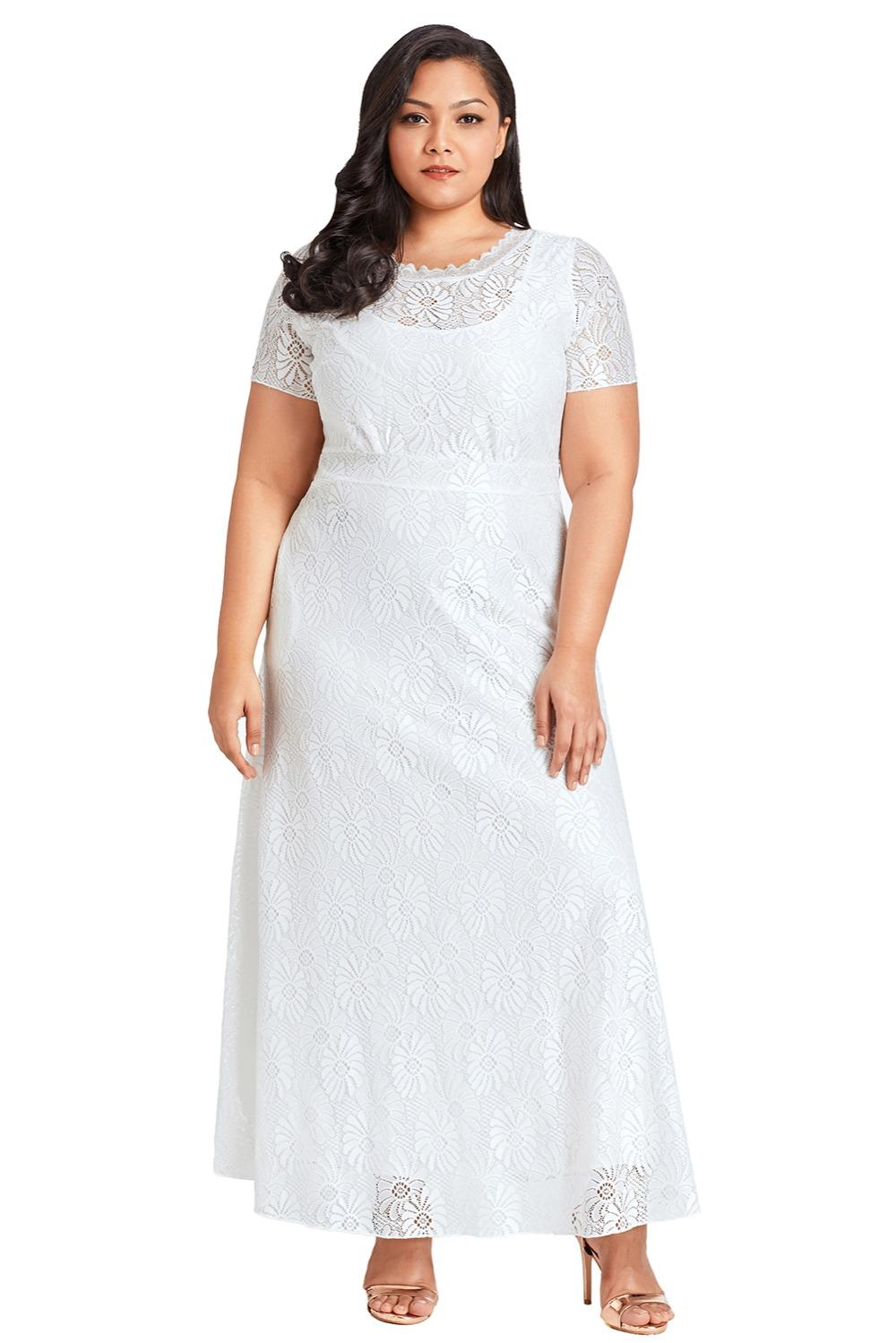 New Plus Size Lace Long White Summer Dress 2018 Women Party Gown ...