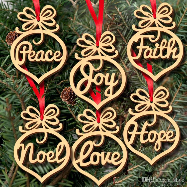 60pcs Wood Christmas Tree Ornaments Decoration Small Heart Faith Hope Bubble pattern Pendant letters Hanging Ornaments Christmas bulb shape