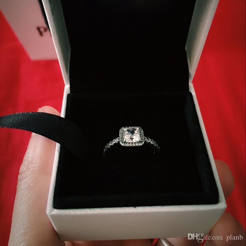 리얼 925 스털링 실버 CZ 다이아몬드 반지 로고가있는 원래 상자 맞는 판도라 스타일 18K 골드 결혼 반지 약혼 보석 여성을위한