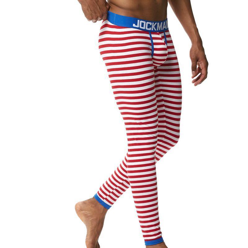 JOCKMAIL новый осень и зима мужчины длинные Джонс термобелье леггинсы брюки высокое качество хлопок мода сексуальные полосы
