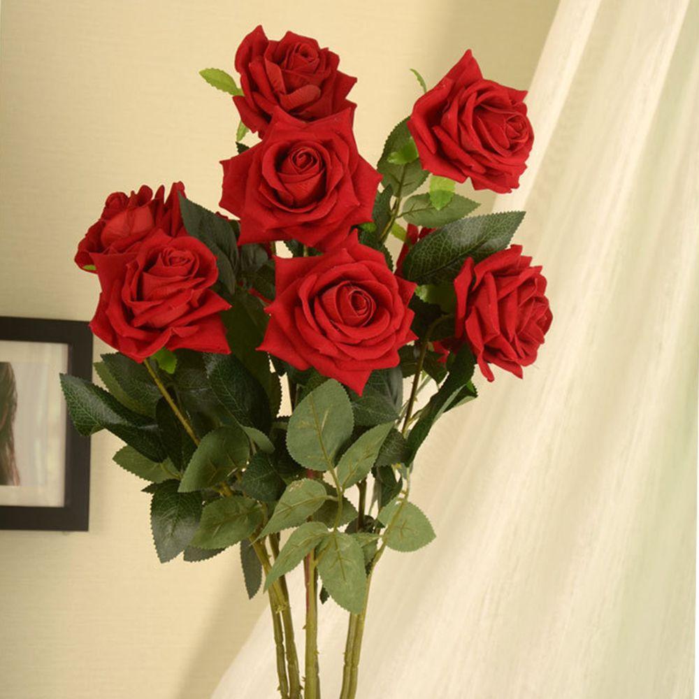 Acheter Romantique Realiste Artificielle Rose Fleur Velours Rose