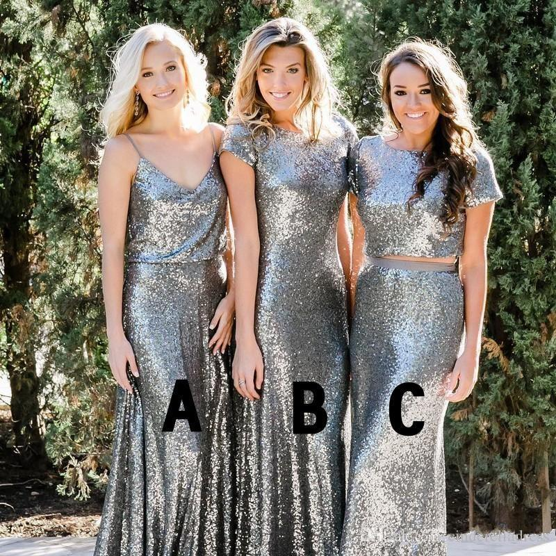 e2e942f44d Silver Sequins Bridesmaid Dresses 2018 Modest Country Style Two Pieces Mix  and Match Bridesmaids Dress Custom Made Wedding Guest Party Gowns