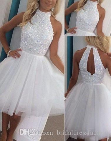 fashion luxury white short prom dress 2018 new halter crystal beaded a line tulle women pageant gown for formal evening party