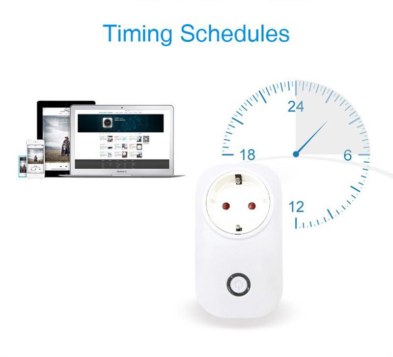 Sonoff S20 EU US Plug Wifi Interruttore Presa di corrente APP senza fili Presa remota Interruttore di temporizzazione Smart Home Work con Alexa