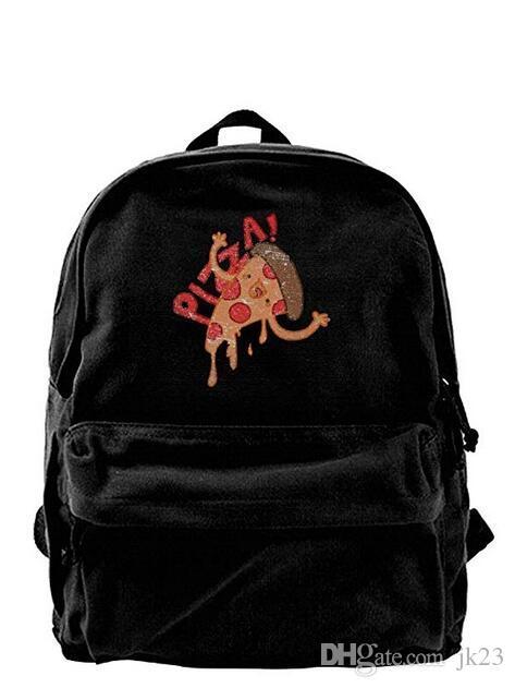 Pizza Canvas Shoulder Backpack Cool Backpack For Men Women Teens
