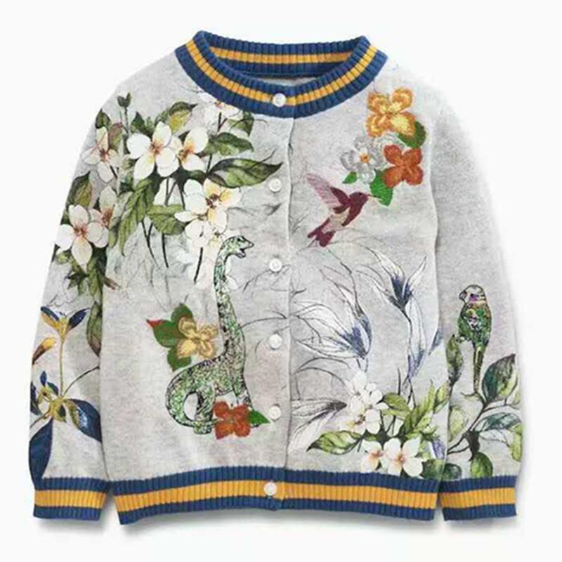 New Brand Embroidery Floral Children Sweaters Cotton Long Sleeve ...