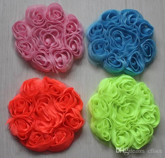 """3"""" decorative chiffon fabric rose flowers for hair,girls hair flowers,chiffon rosettes flower for babies hair clip accessories"""