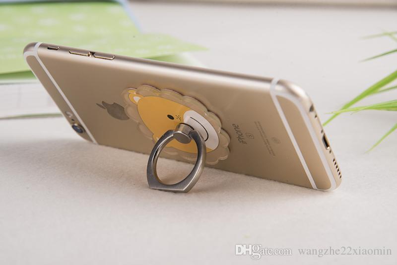 Anillo de acrílico al por mayor por encargo del soporte del anillo soporte del anillo del teléfono móvil de la rotación de las hebillas del soporte del anillo de la historieta del soporte del apretón