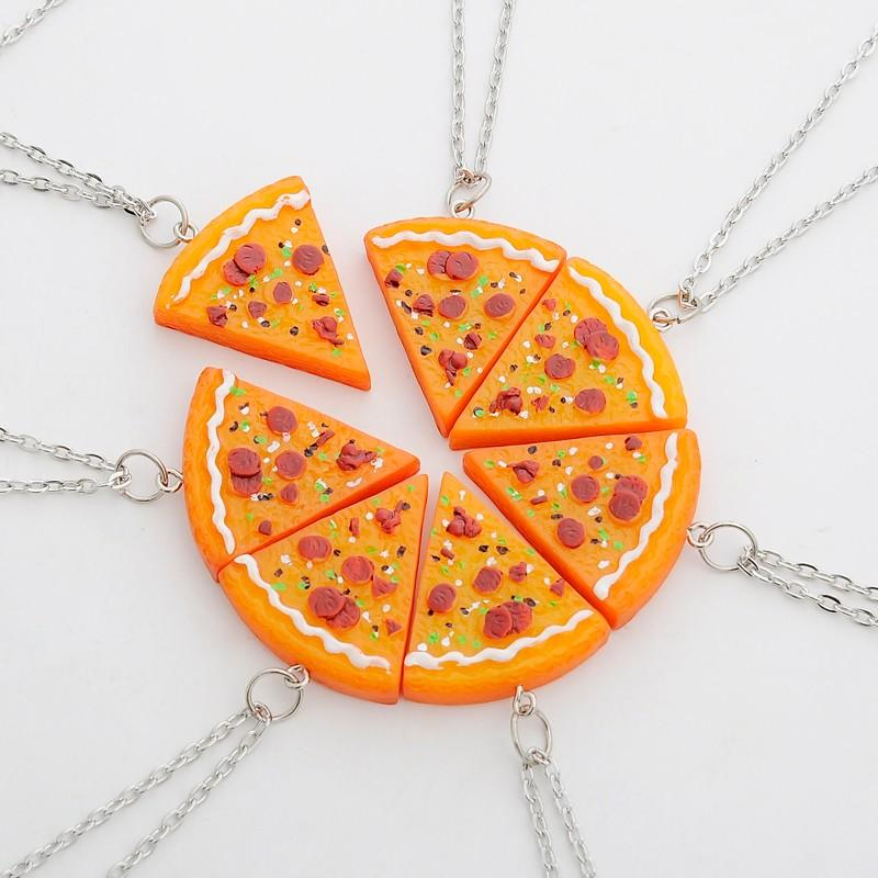 Pizza Necklace Keychains Best Friends Forever Gift For Women Men Children BFF Friend Puzzle Pendant Friendship Necklace Key Charms