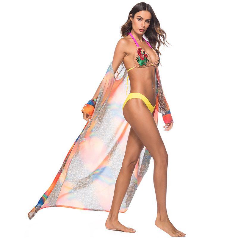 오픈 스티치 쉬폰 블라우스 섹시한 여성 레오파드 Printd 케이프 롱 비치 코트 여름 롱 슬리브 아웃 커버 케이프 무료 DHL