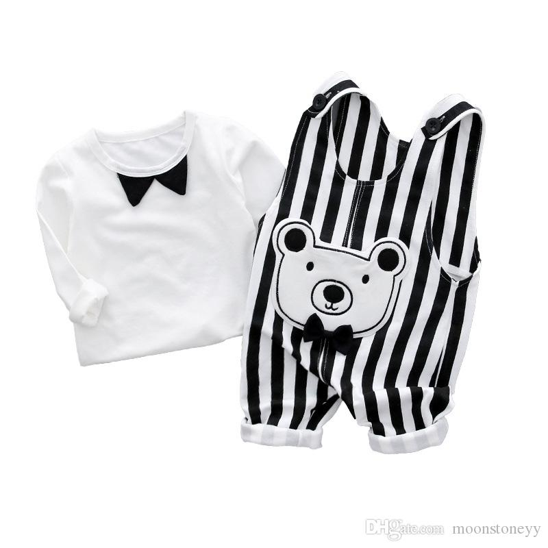 eedbbb7b9 2019 Kids Baby Boys Girls Brand Clothes Sets 2018 Shirt Tops + Cartoon Bear Trousers  Pants Baby Sports Tracksuit Outfit Set C94 From Moonstoneyy, ...