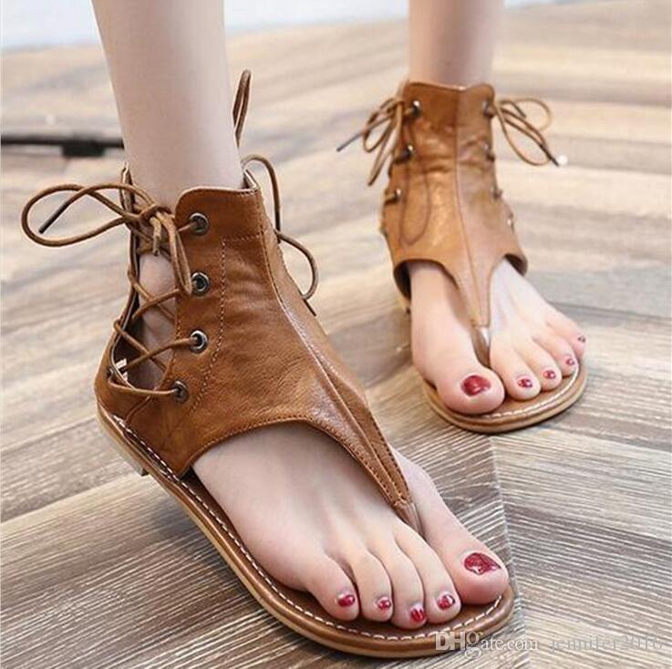 Nuevo Verano Las De Chanclas Mujer Planas Casual Plus Playa Gladiador Mujeres Cuero Vintage Para Zapatos Tamaño Sandalias 29WHDEI