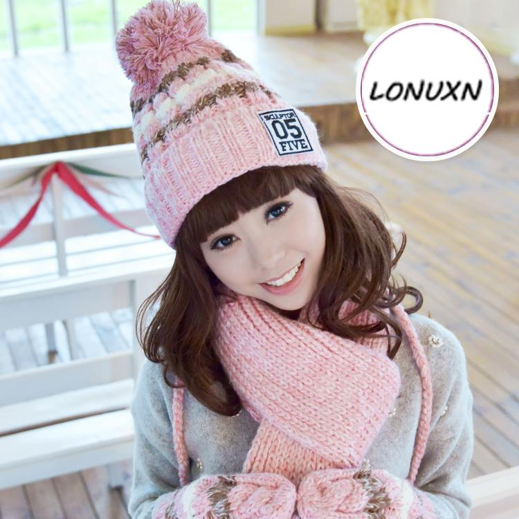 09763b35ff1 2019 Hat + Scarf + Gloves Three Piece Female Winter Korean Version Of The  Tide Cute Plus Velvet Thickening Knitted Girl Warm Suit From Rainbowwo