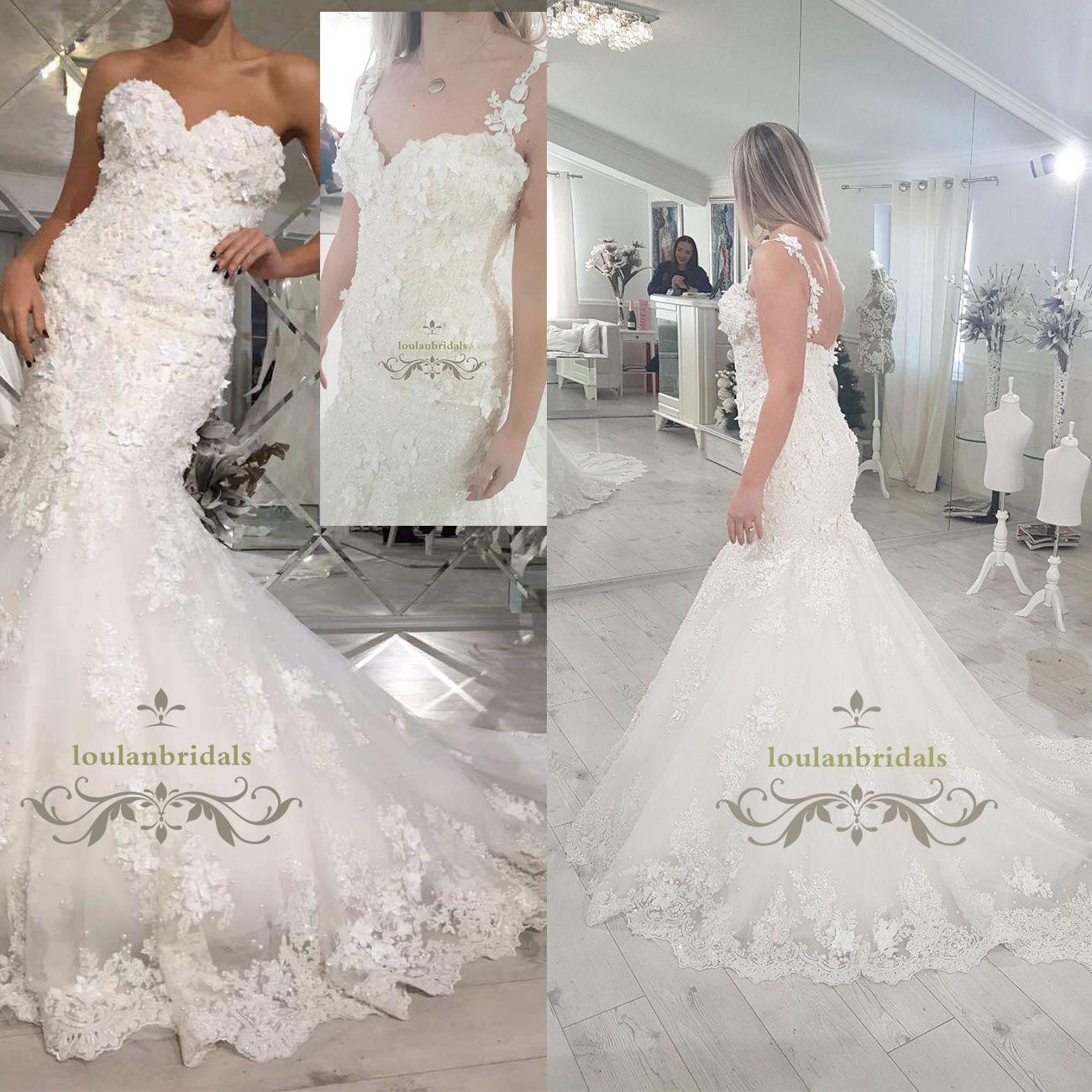 Custom Made One Off 2018 Europe Wedding Dress 3d Lace Detachable ...