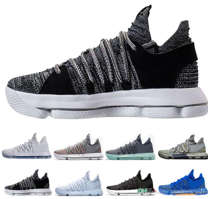 eefdb80dc2af with Box Newest KD 10 Men Basketball Shoes Triple Black White Dark ...