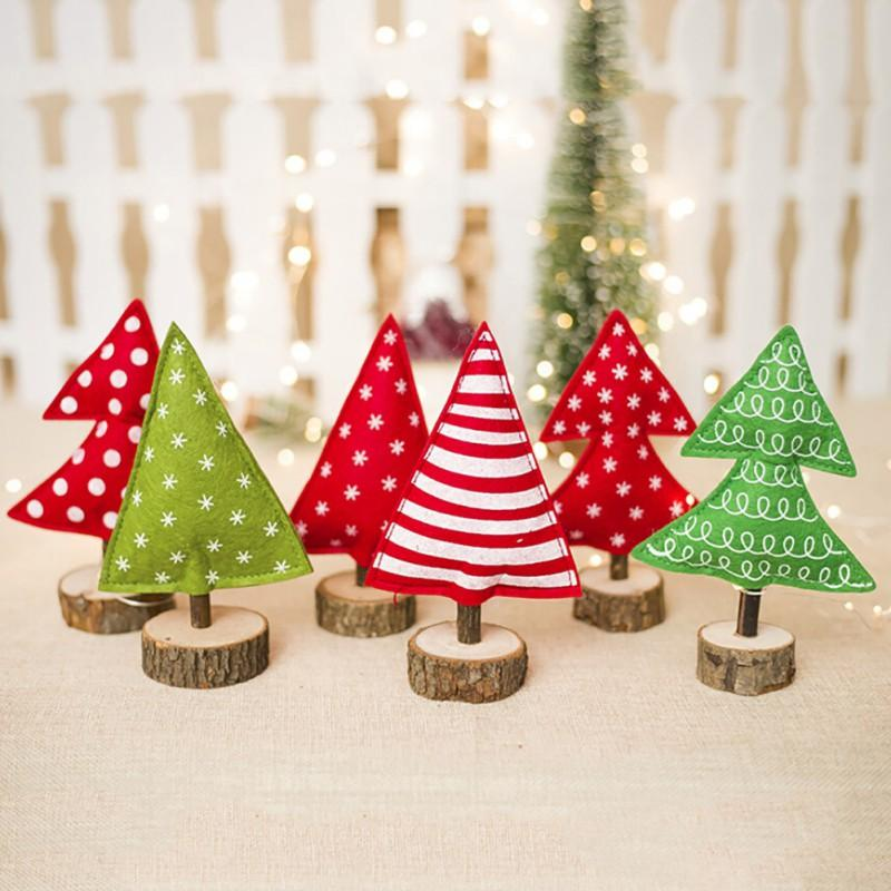 2783cd138dc Compre Adornos Creativos Del Árbol De Navidad Que Se Sientan Mini Árbol De Navidad  Decoración Navideña Estacas De Madera Adornos Jardín En Casa Festivo A ...