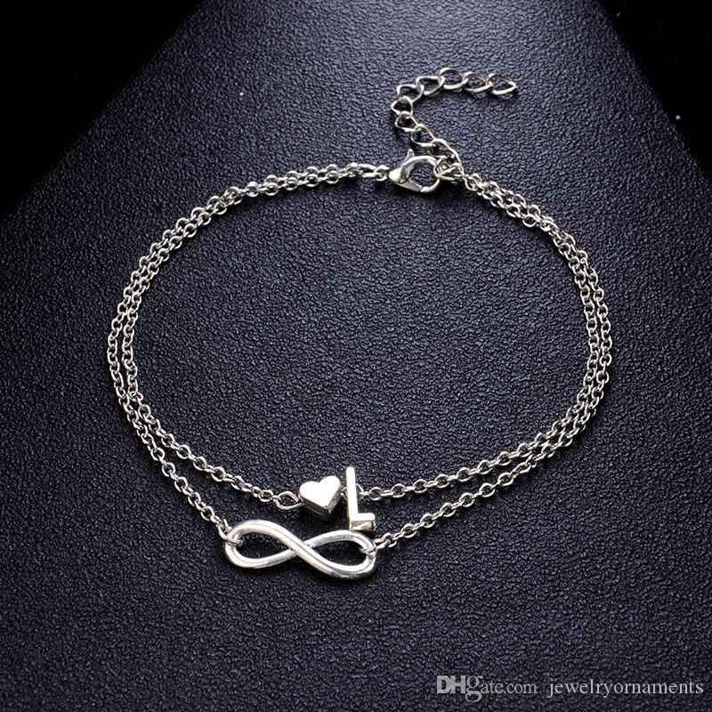e8e0117d4 2019 Personalized Silver Initial Name Anklets With Infinity Charm Beads Ankle  Bracelets For Women Layered Anklets Letter Beach Foot Jewelry From ...