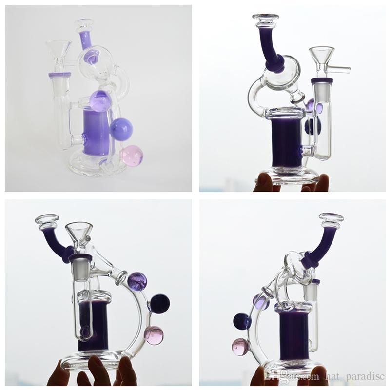"Recycler Glass Water Bong 6"" inch Beautiful Bubbler Dab Rig Inline Showerhead Perc Green Purple Pink Beaker Bongs Oil Rig 14mm Joint Hookah"