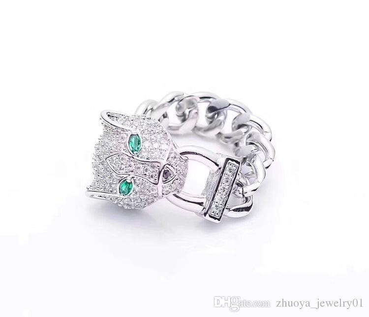 Leopardo de comércio exterior anel de jóias atacado leopardo anel de cadeia de diamantes completa 18 K anel de ouro.