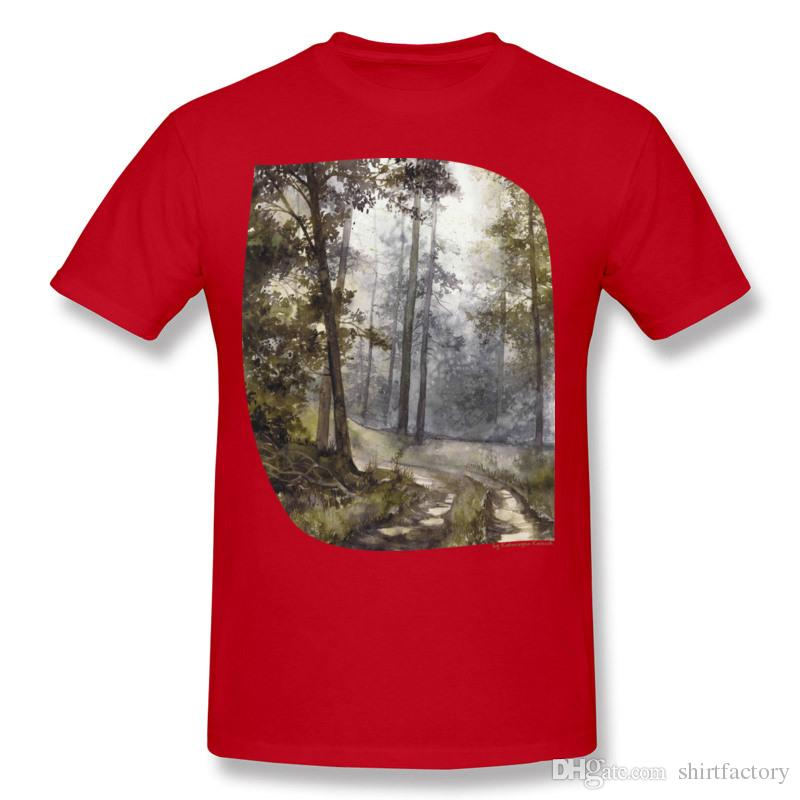 Latest Hombre Cotton Wet Morning in the Forest Tee-Shirts Hombre Round Collar Orange Short Sleeve Tops Tees S-6XL Funny Tee-Shirts