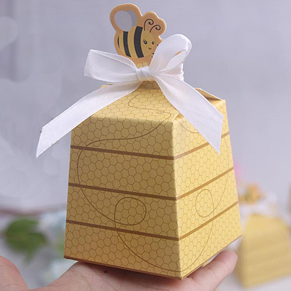 Cute Bee Paper Box Gift DIY Birthday Wedding Favor Cookie Candy Bag Baby Shower Party Decoration With White Ribbon Gifts Wrapping Giftwrap From