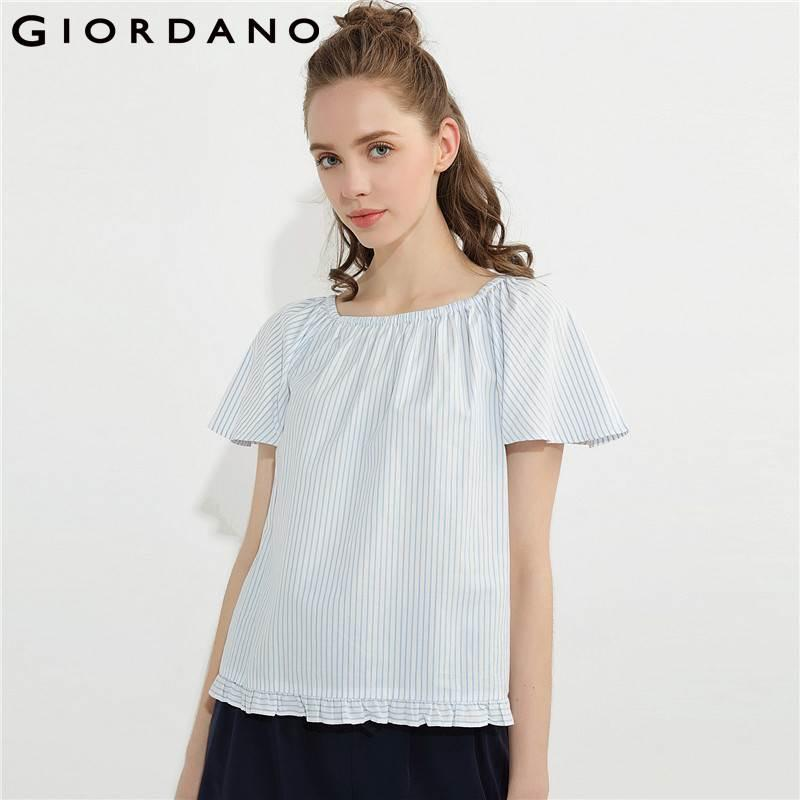4ca1f4a312e 2019 Giordano Women Blouse Oxford Raglan Sleeve Shirt Cotton Quality Womens  Tops And Blouses Young Ruffle Hem Blusas Brand Summer From Luweiha