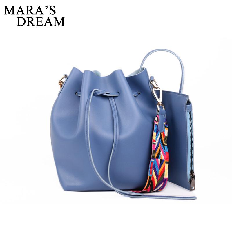 ed94de7f52e1 Mara S Dream Drawstring Colorful Strap Bucket Bag Women PU Leather Shoulder  Bags Handbag Ladies Messenger Crossbody Bags Bolsas Womens Bags Wholesale  Bags ...