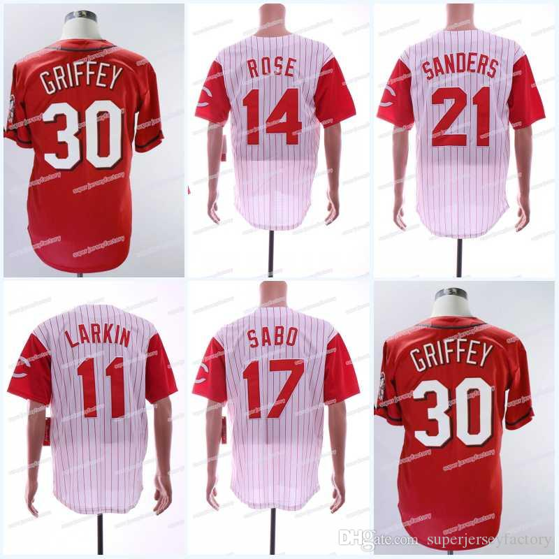 new concept a1df7 a90b9 Men's 30 Kengriffey 11 Barry Larkin 14 Pete Rose 17 Chris Sabo 21 Reggie  Sanders Baseball Jerseys High Quality Free Shipping